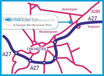 map to show location of RM Alderton Designs Ltd